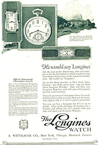 The Longines Watch - A. Wittnauer Co. Ad