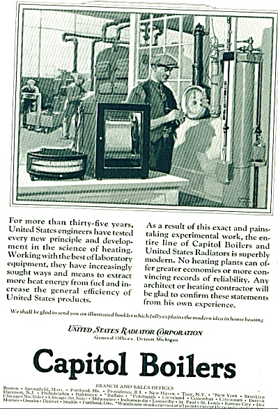 1925 US Radiator Capitol Boiler AD FRANK QUA. (Image1)