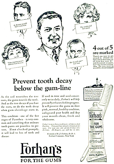 1925 Forhan's for Gums Tooth Paste AD (Image1)