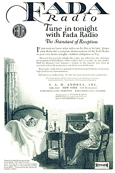 1925 Fada Radop Ad Neutrodyne Awesome Artwork