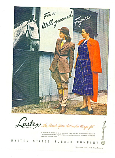 1947 Lastex US Rubber Co AD CLOTHING TOGS (Image1)