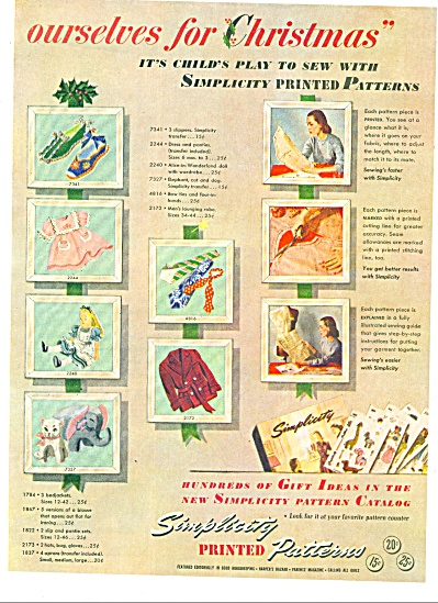 Simplicity printed patterns ad 1947 (Image1)