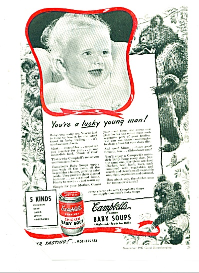 Campbell's Strained Baby Soups Ad 1947