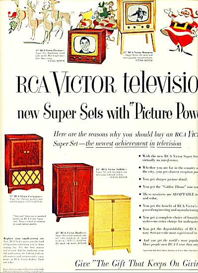 Rca Victor Television - Picture Power Ad 1951
