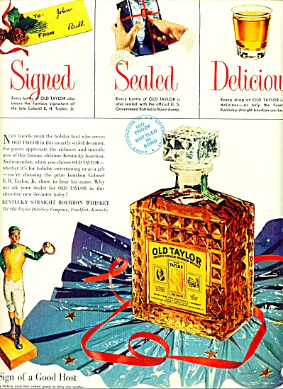 1951 Old Taylor Whiskey AD SIGNED SEALED DEL (Image1)