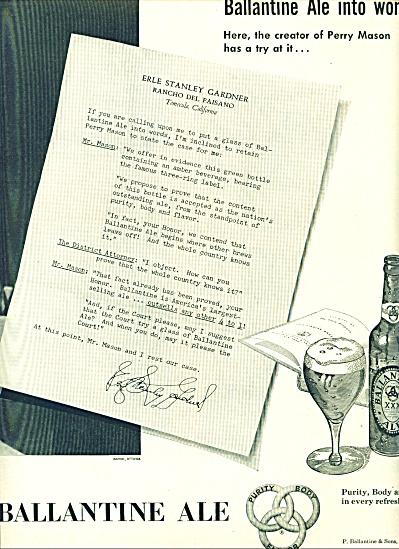 1951 Ballantine Ale AD PERRY MASON CASE (Image1)