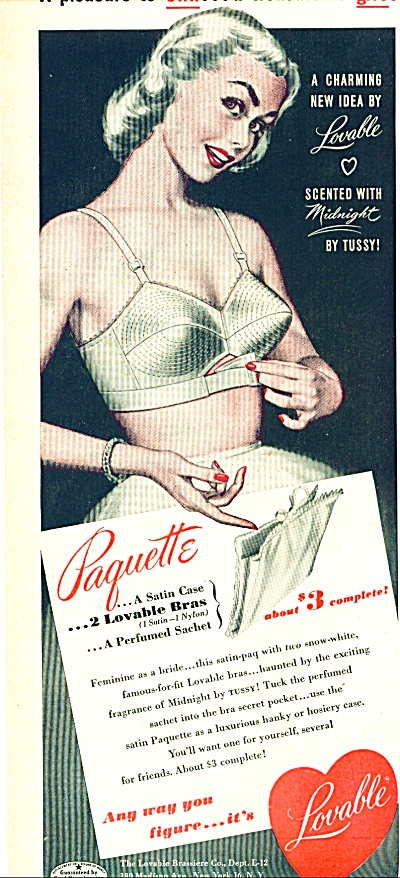 1951 Lovable Bra Brassiere Ad Pointy Pic