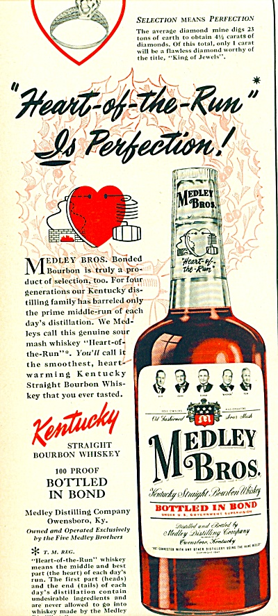 Medley Bros. Kentucky Bourbon Whiskey Ad 1951