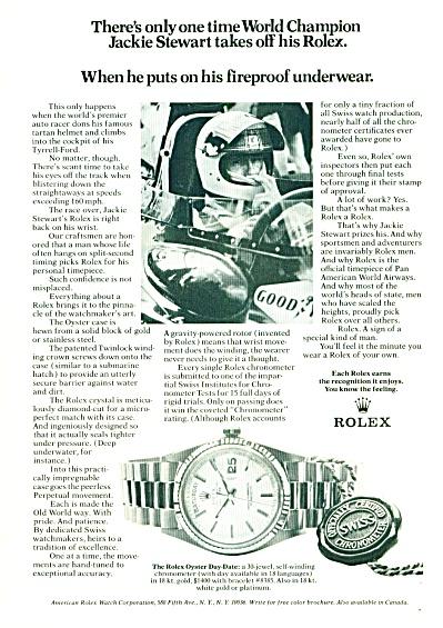 Rolex watches ad - JACKIE STEWART  1972 (Image1)