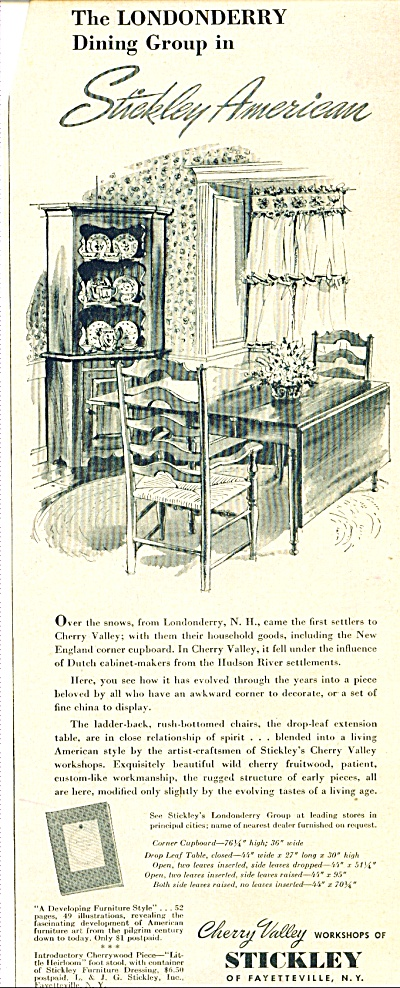 Stickley American Furniture Ad 1951