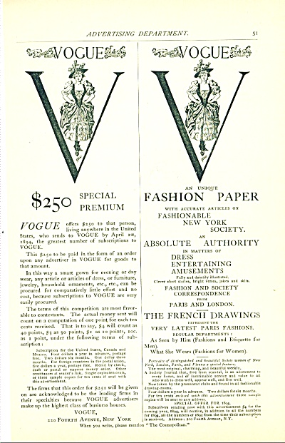 1894 Vogue - Fashion Paper AD SIP (Image1)