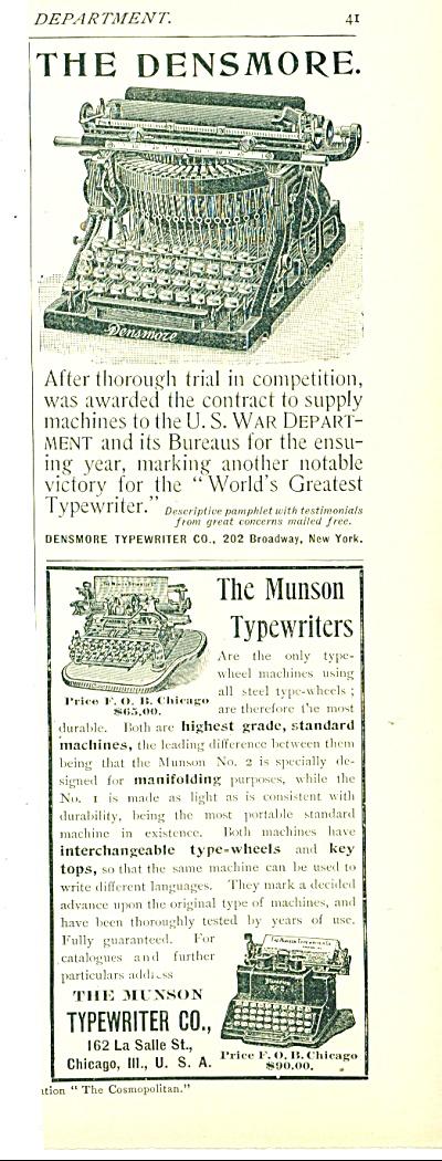 Densmore typewriter & The Munson typewriters. (Image1)