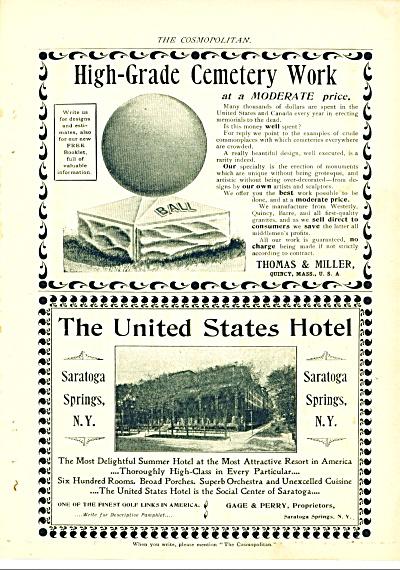 Thomas & Miller cemetery work - U.S. Hotel ad (Image1)