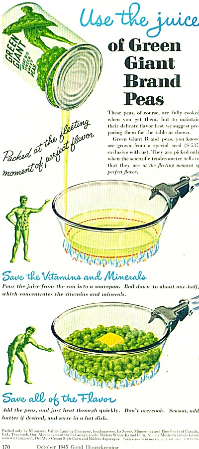 1945 Green Giant PEAs AD USE THE JUICE (Image1)