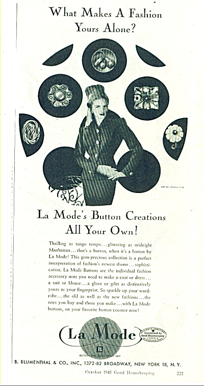 La Mode Button Creations Ad 1945
