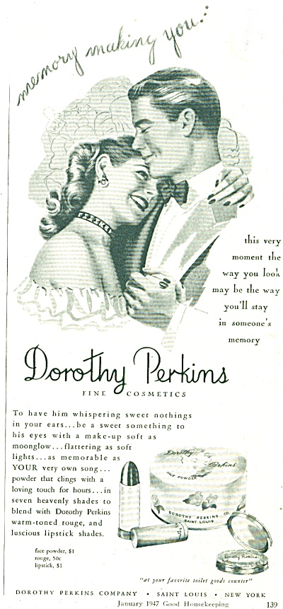 1947 Dorothy  Perkins Cosmetics AD COUPLE ART (Image1)