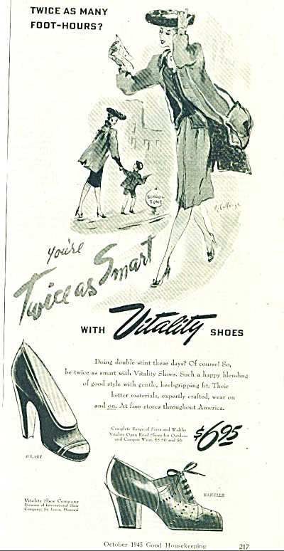 1945 Vitality Women Shoes Ad Mccullough Art