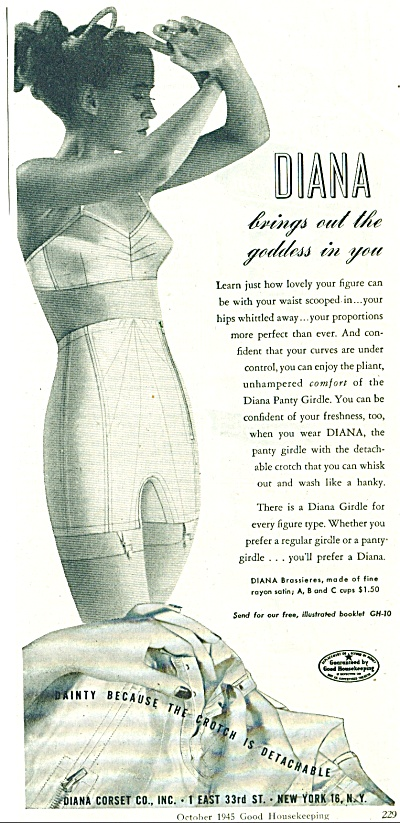 1945 Diana Corset Co Ad Bra Girdle Girl
