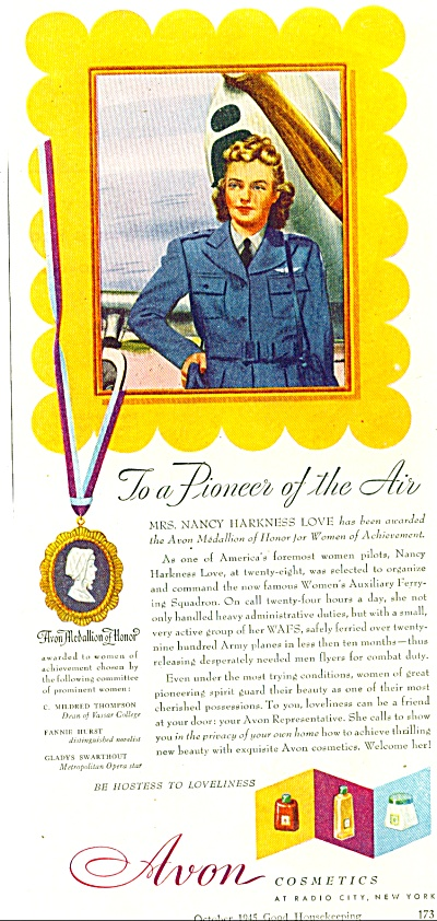 1945 AVON AD NANCY HARKNESS LOVE - PILOT AD (Image1)