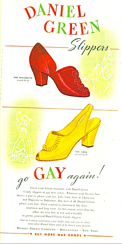 1945 Daniel Green Slipper Shoe Ad Go Gay Agai