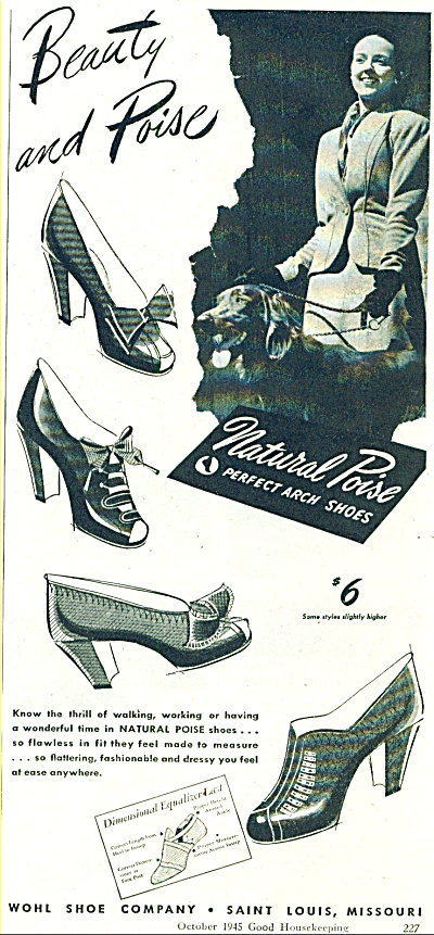 1945 WOHL SHOE Co AD Vintage WOMAN Pairs (Image1)