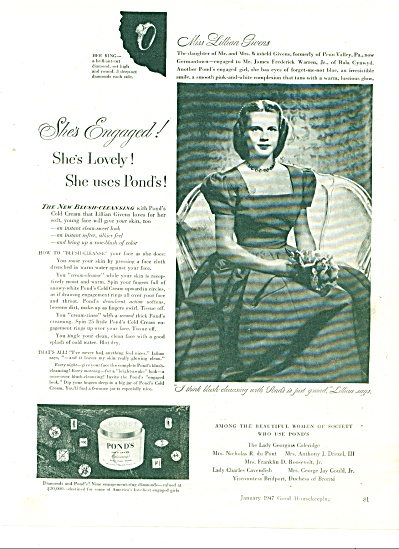 1947 Pond's cold cream AD Miss LILLIAN GIVENS (Image1)