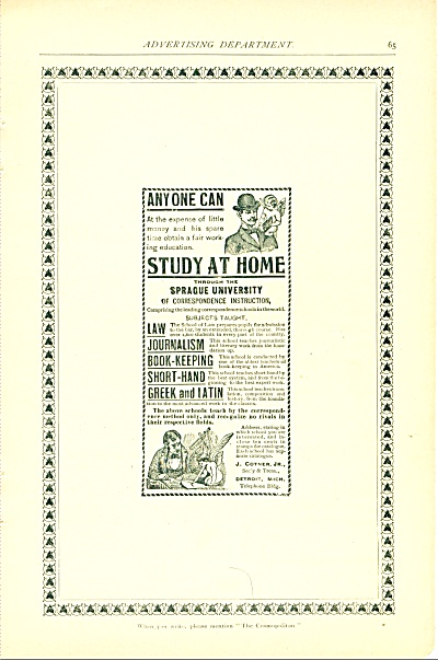 Sprague University -study at home 1894 (Image1)