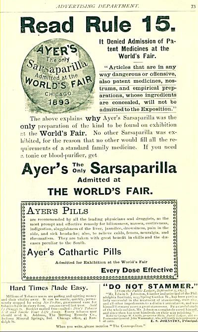1894 Ayer's Sarsaparilla &Cathartic pills AD (Image1)