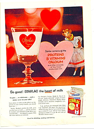 1956 Starlac - Bordens Elsie Cow Milk Ad