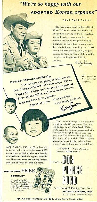 1956 Roy Rogers - Dale Evans Ad World Orphans