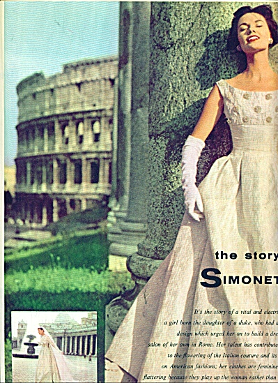 1956 ARTICLE Simonetta Fabiani ITALY  FASHION (Image1)