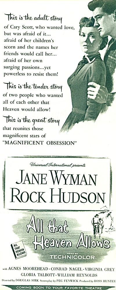 1956 Movie Ad All That Heaven Allows Reagan