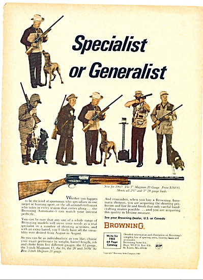 1967 Browning Rifle AD GUNS - Men w/ DOGS (Image1)