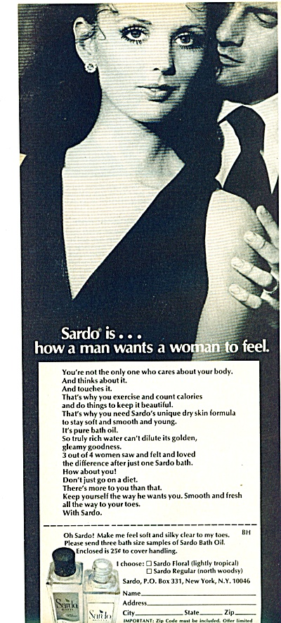 1969 Sardo Bath oils ad - Beautiful Woman (Image1)