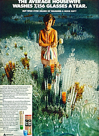 1969 Dixie Cups Ad Housewife Wash 7156 Glass