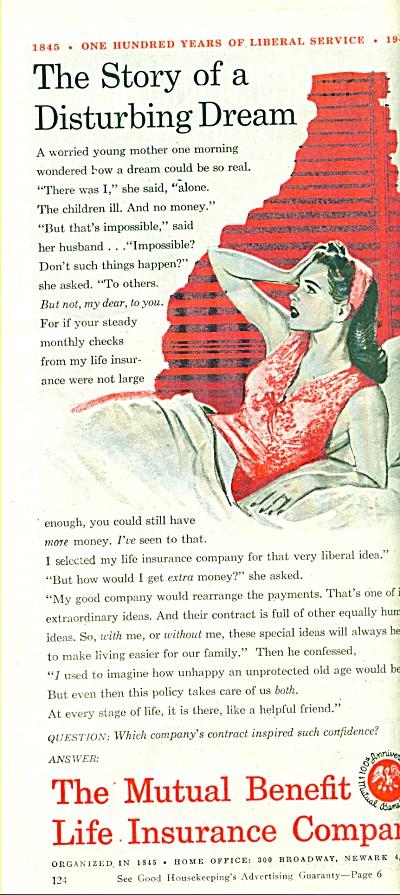 1945 Mutual Benefit Insurance AD WOMAN - DREA (Image1)