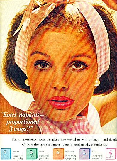1964 Kotex napkins AD Cutest Brunette Model (Image1)