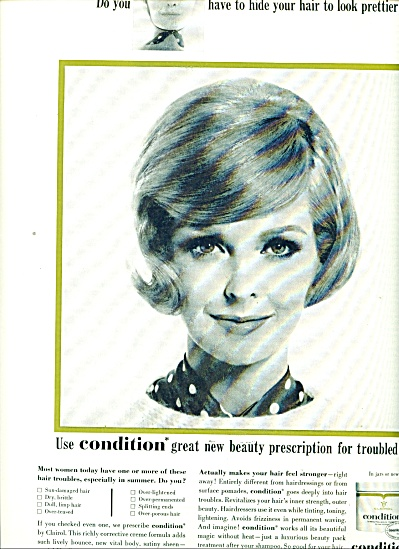 Clairol Condition 1964 SARA THOM FASHION Model AD (Image1)
