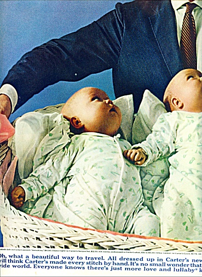1963 Carter's babies Clothes AD TWINS BASKET (Image1)