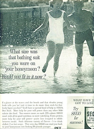 1963 Sego Weight Control Ad Swimsuit Woman
