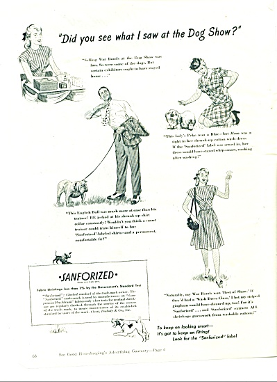 1945 Sanforized ad GILBERT BUNDY ARTWORK (Image1)