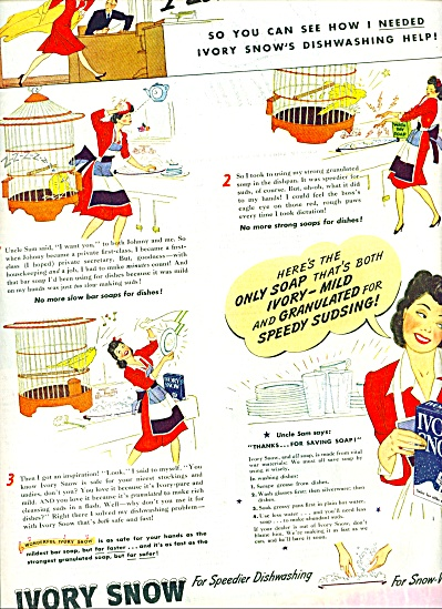 1944 IVORY SNOW Soap AD Woman Cartoon ART (Image1)