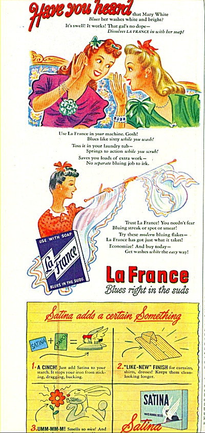 1944 LaFrance Suds AD MARY WHITE GOSSIP Art (Image1)