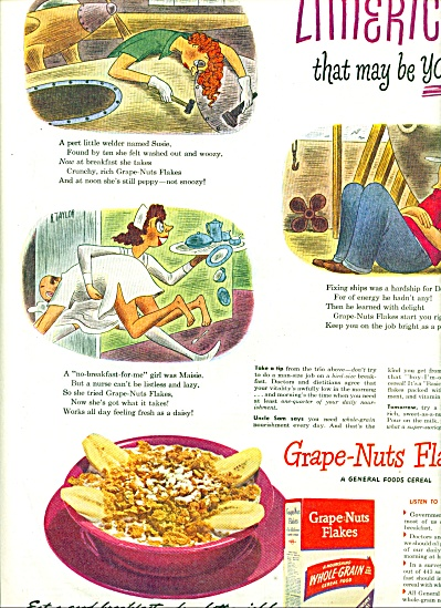 1944 Grape Nuts Flakes AD R. Taylor ART (Image1)