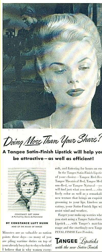 1944 Tangee Lipsticks Ad Constance Luft Huhn