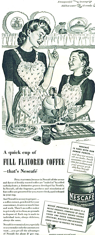1944 NESCAFE Coffee AD Haines Hall....ARTWORK (Image1)