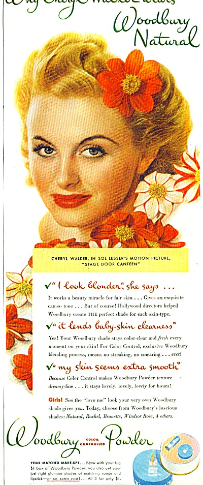 1944 Woodbury Powder AD CHERYL WALKER Actress (Image1)