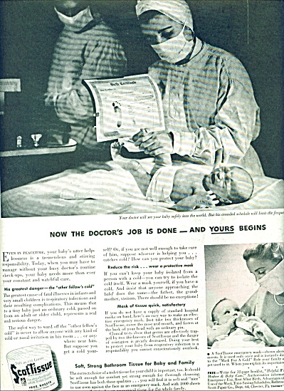 1944 SCOT Tissue AD DOCTOR JOB DONE NEW BABY (Image1)