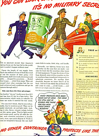 1944 Can Manufacturers AD SAILOR SOLDIER WWII (Image1)