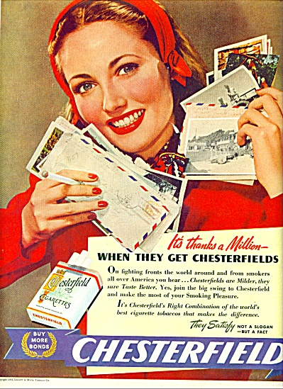 1944 Chesterfield Cigarettes AD WOMAN IN RED (Image1)